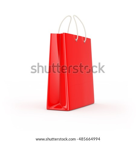 Red shopping bag isolated. Shopping concept 3d rendering.