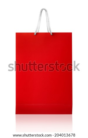 Red shopping bag, isolated with clipping path on white background. Red shopping bag with reflect and copy space.