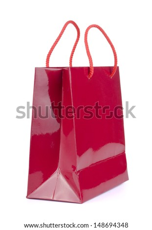 Red shopping bag on a white background.