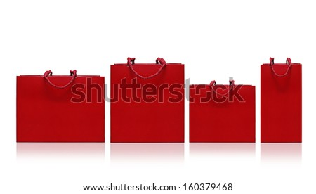 Red shopping bag on a white background - stock photo