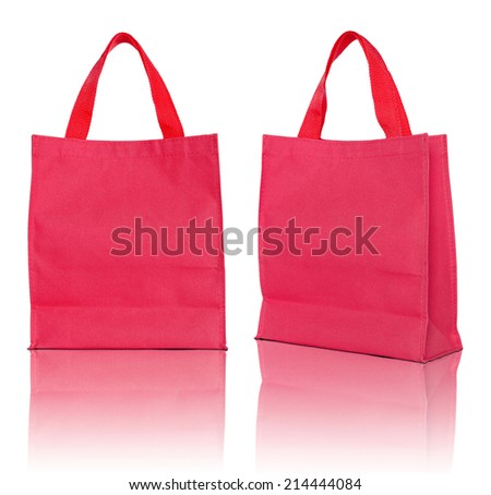 red shopping bag on white background  - stock photo