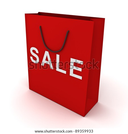 Red shopping bag with sale word on white background - stock photo