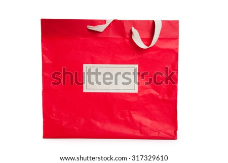 Red Shopping Bag with white background - stock photo