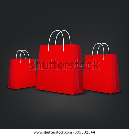 red shopping bags set isolated on black background