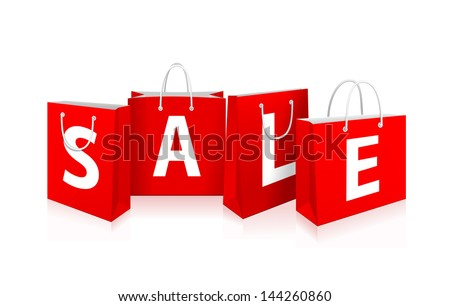 Red Shopping Bags with sale label. See also vector version