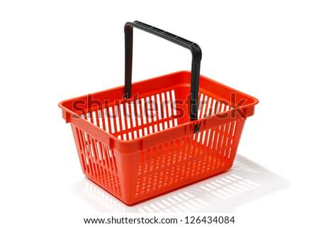 Red shopping basket, isolated on white background - stock photo