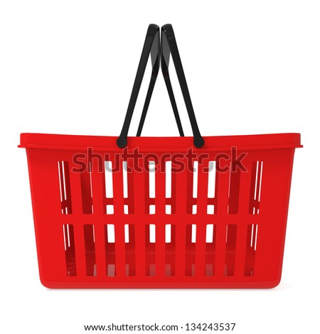 Red Shopping Basket isolated on white - 3d illustration