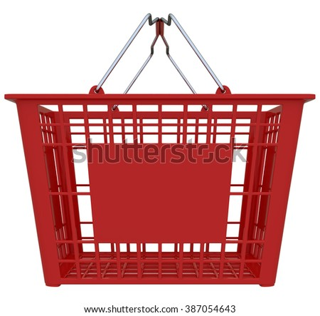 Red Shopping Basket Isolated Over White Background - Copy Space