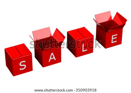 Red shopping boxes with word sale, isolated on white background.