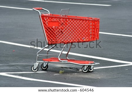 Red Shopping Cart - stock photo