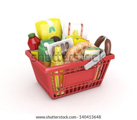 red shopping ramadan basket -3D rendered - stock photo