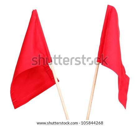 Red signal flags isolated on white - stock photo