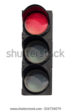 red  signal of the traffic light in isolation - stock photo