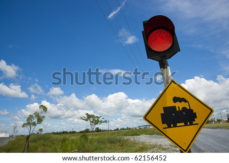 Red signals command trains to stop further forward progress - stock photo
