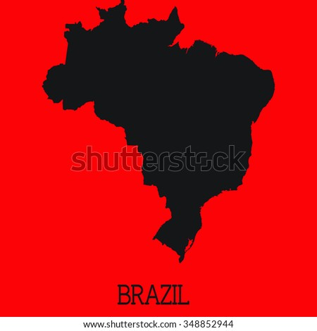 Red Silhouette of the Country Brazil