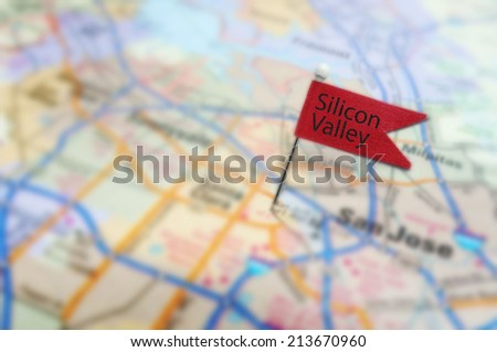 Red Silicon Valley pin in map near San Jose, California                                - stock photo