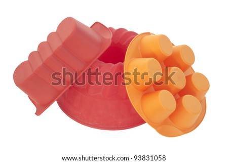 red silicone baking dish isolated on white background - stock photo