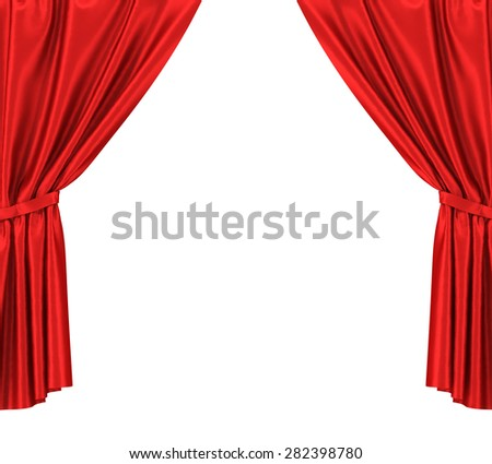 Red silk curtains with garter isolated on white background. 3d illustration High resolution - stock photo