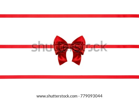 Red silk nice bow on red ribbons decoration, isolated on white background