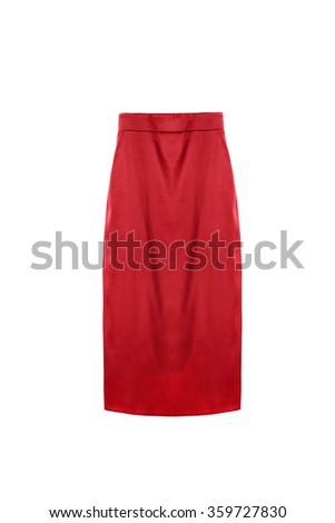 Red silk pencil skirt on white background - stock photo