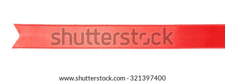 Red silk ribbon isolated on white - stock photo