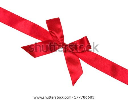 Red silk ribbon with bow, horizontal diagonal, isolated on white