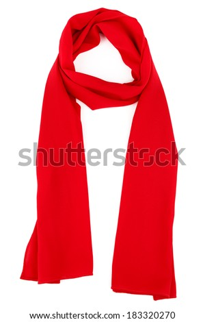red silk scarf on a white background - stock photo
