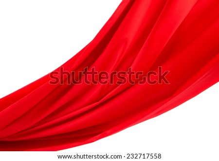 Red silk texture cloth. Close up. Whole background. - stock photo