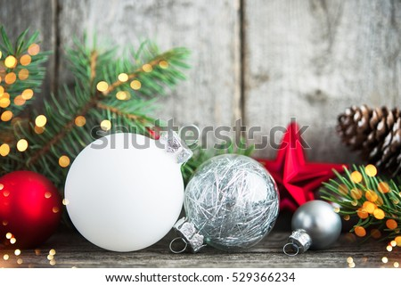 Red silver white christmas ornaments xmas stock photo for White tree red ornaments