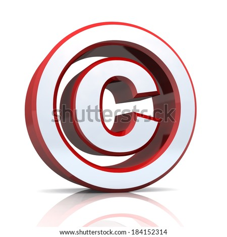 red silver copyright symbol on white background - stock photo
