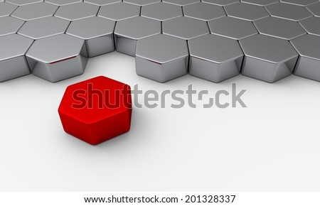 red silver 3d brick concept
