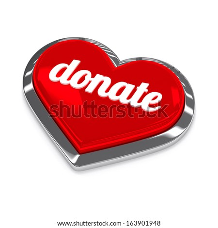 Red silver donate button - stock photo
