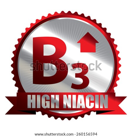 Red Silver High Niacin B3 Vitamin Ribbon, Badge, Icon, Sticker, Banner, Tag, Sign or Label Isolated on White Background - stock photo