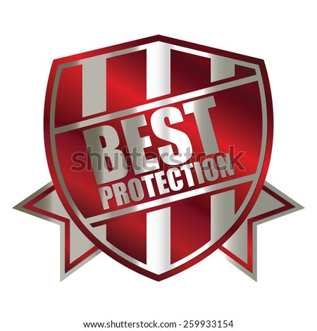 red silver metallic best protection shield, sticker, sign, stamp, icon, label isolated on white - stock photo