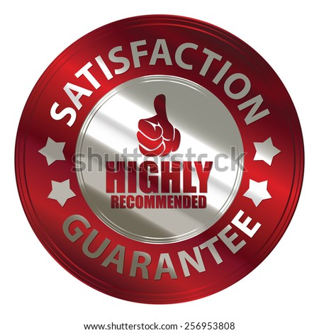 red silver metallic circle highly recommended satisfaction guarantee medal, sticker, sign, badge, icon, label, tag isolated on white - stock photo
