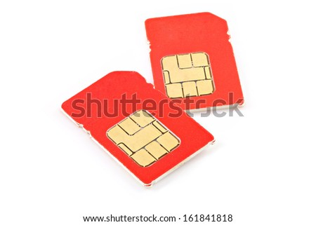 red sim cards - stock photo