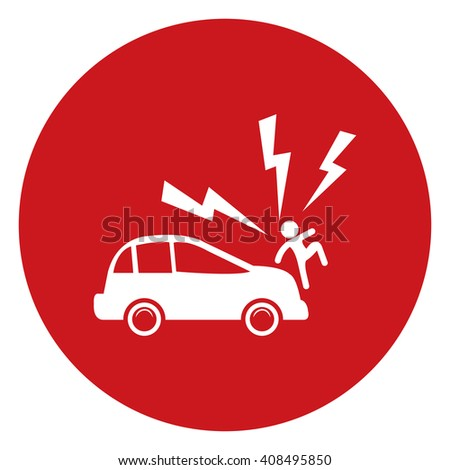 Red Simple Circle Car Knocked Down The Man Infographics Flat Icon, Sign Isolated on White Background