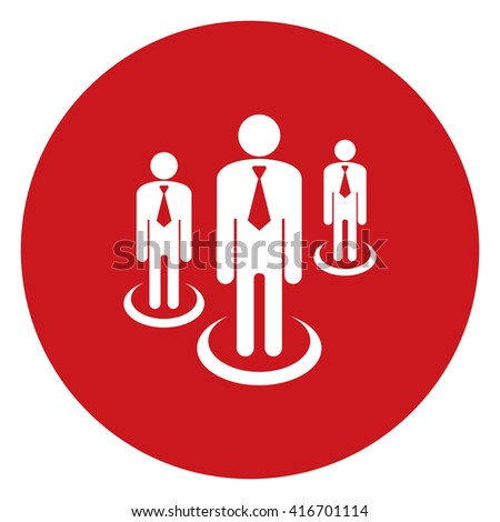 Red Simple Circle Group of Businessman Infographics Flat Icon, Sign Isolated on White Background - stock photo