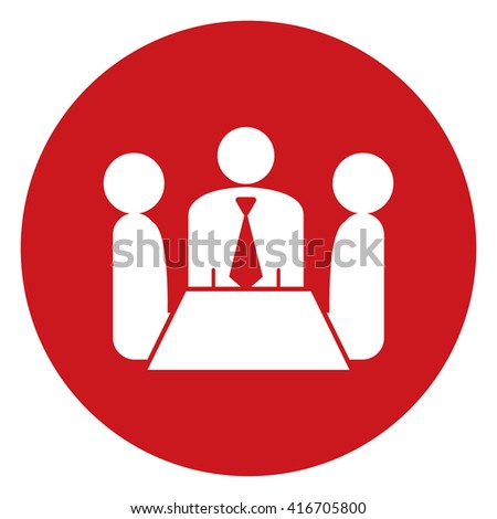 Red Simple Circle Group of Businessman Meeting, Discussion Flat Icon, Sign Isolated on White Background - stock photo