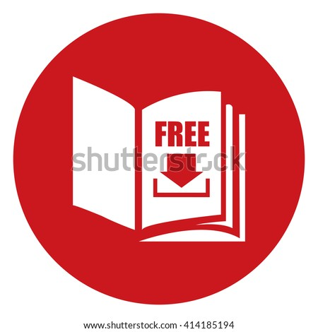 Red Simple Circle Open Book With Free Download Infographics Flat Icon, Sign Isolated on White Background - stock photo