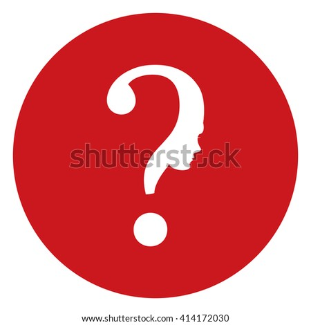 Red Simple Circle Question Mark Head Infographics Flat Icon, Sign Isolated on White Background - stock photo