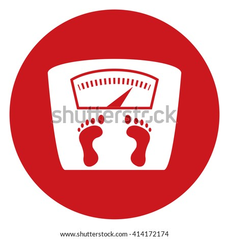 Red Simple Circle Weight Scale Infographics Flat Icon, Sign Isolated on White Background - stock photo