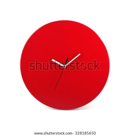 Red simple round wall clock - watch isolated on white background
