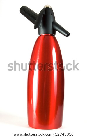 Red siphon. Metal bulb. Preparation of soda water. Isolated on a white background. - stock photo