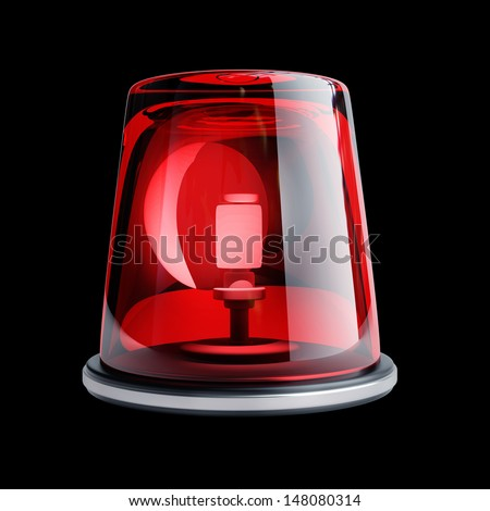 red siren isolated on black background. High resolution 3d render  - stock photo