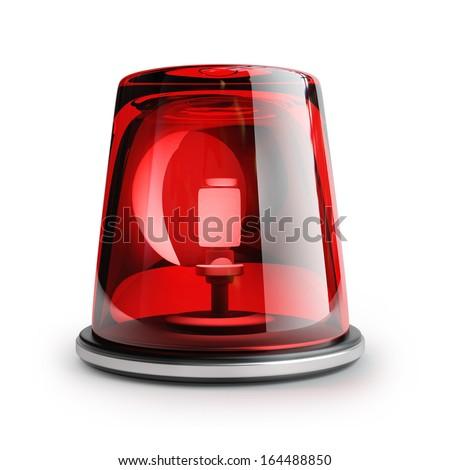 red siren isolated on white background High resolution 3d  - stock photo