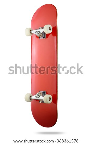 Red skateboard deck on white background, isolated path included - stock photo