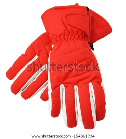 Red ski gloves, with clipping path