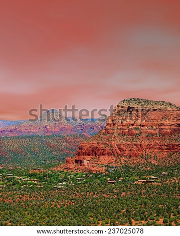 Red skies Red Rock country mountains surrounding Sedona Arizona - stock photo