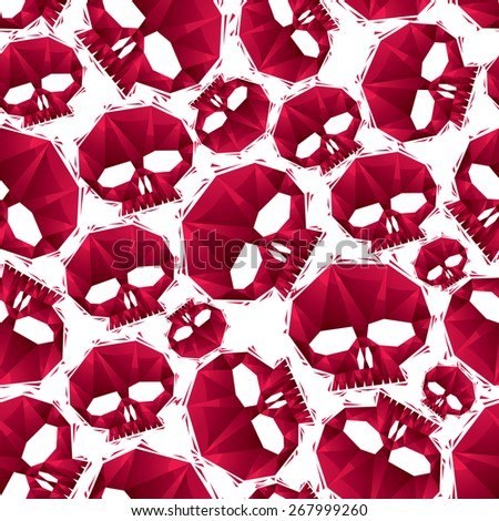 Red skulls seamless pattern, geometric contemporary style repeating background, best for use as web backgrounds and wallpapers. - stock photo